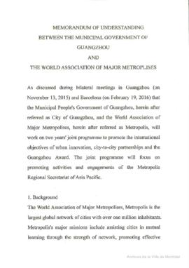 Guangzhou - Memorandum of understanding between the municipal government of Guangzhou and the World association of major metropolises. - 2016