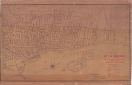 1884-1: Plan of the City of Montreal showing position of all pipes, valves and hydrants belonging...