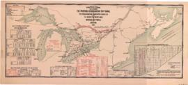 1907-4a: Public Works of Canada map showing the proposed Georgian Bay ship canal and the other pr...