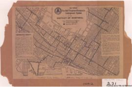 1909-2: Map showing the Bell telephone company's underground system in the district of Montreal. ...