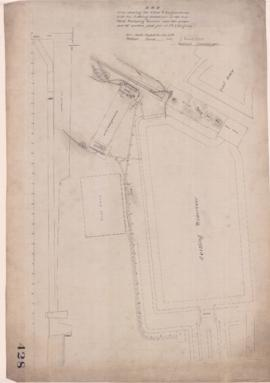 Montreal Water Works Plan shewing (sic) the Wheel and Engine House, with the Setling Reservoir at...