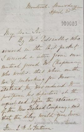 Lettre de John William Dunscomb à Louis-Hippolyte La Fontaine . - 20 avril 1843