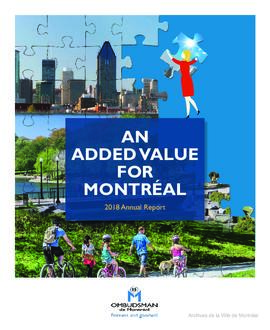 An Added Value for Montréal : 2018 Annual Report. / Ombudsman de Montréal. - 2018.