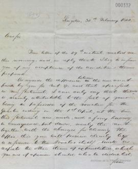 Lettre de J. Monk à Louis-Hippolyte La Fontaine : Kingston . - 30 février 1844