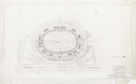 Master plan of the sports center, Maisonneuve park : Stadium - plan at 90.0 level - 1957