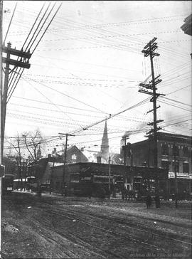 Northwest corner St. Catherine and Guy looking South-West . - 19 février 1914
