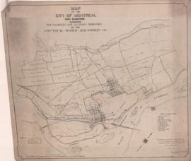 Map of the City of Montreal and suburbs showing the franchise and adjacent territory of the Montr...