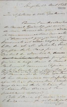 Lettre de D. Daly à Louis-Hippolyte La Fontaine : Kingston . - 12 août 1843