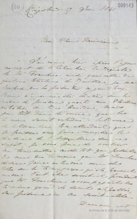 Lettre de F. Auguste Quesnel à Louis-Hippolyte La Fontaine : Kingston . - 17 juin 1841