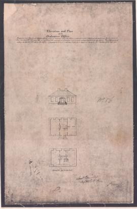 1823-1: Elevation and plan of an ordnance office. - Copié le 15 octobre 1949 (original créé en 1823)