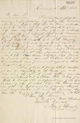 Lettre de James Grant à Louis-Hippolyte La Fontaine : Cornwall . - 11 octobre 1843