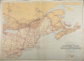 Sectional Map Indicating Main Automobile Roads Between Canada & United States (Atlantic Sheet...
