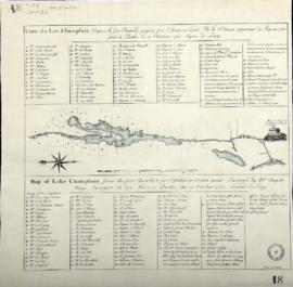 Carte du Lac Champlain Depuis le fort Chambly jusqu'au fort Saint frederic Levée Par le Sr Anger arpenteur du Roy en 1732 fait à Quebec le 10 Octobre 1748 Signé de Lery = Map of Lake Champlain from the fort Chambly to fort Saint frederic or Crown point, Survey'd by Mr Anger Kings Surveyor in 1732, Made at Quebec the 10 October 1748, Signed de Lery . - 1748
