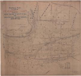 Contour plan of part of City of Montreal and vicinity showing areas drained to outlet at jail and...