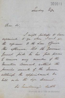 Lettre de Rawson William Rawson à Louis-Hippolyte La Fontaine . - [184-?]