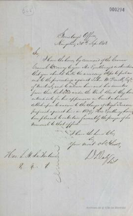 Lettre de D. Daly à Louis-Hippolyte La Fontaine : Kingston . - 30 septembre 1843