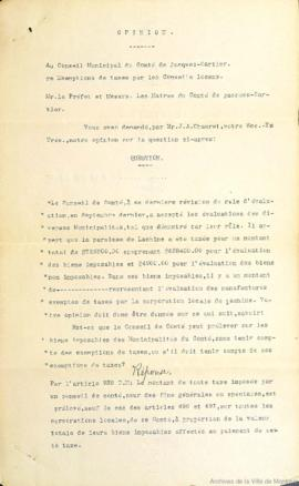 Opinion concernant l'exemption de taxes aux corporations locales . - 19 mars 1904