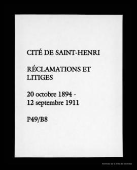 Réclamations et litiges. - 20 octobre 1894 - 12 septembre 1911