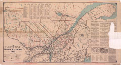 Condition Routiere Quebec >> 1927 4 Carte Routiere Et Touristique De La Province De Quebec