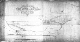 1853-6: Topographical map shewing [sic] plan of water supply of Montreal with the route of the pr...