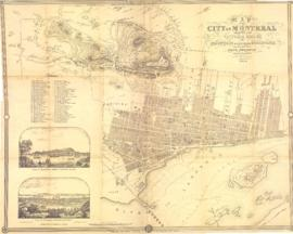 Map of the City of Montreal shewing the Victoria Bridge, the Mountain & proposed Boulevard, a...