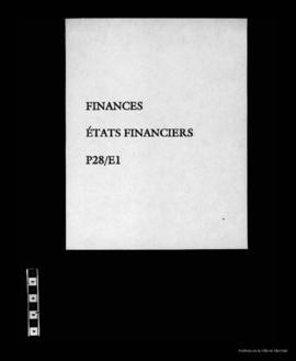États financiers. - 1879 - 1909