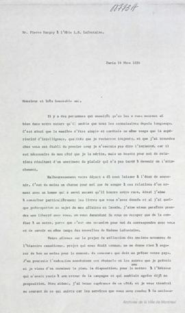 Lettre de Pierre Margry à Louis-Hippolyte La Fontaine : Paris . - Retranscriptions [196-] (origin...
