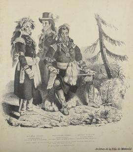 Three chiefs of the Huron indians, residing at La Jeune Lorette, near Quebec, in their national c...