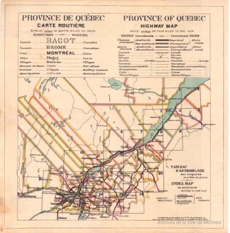 Condition Routiere Quebec >> Province De Quebec Carte Routiere 1922 Archives De Montreal