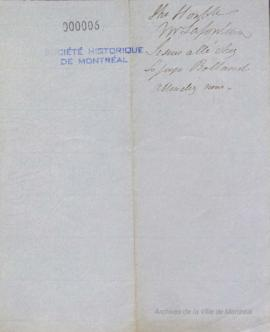 Note anonyme à Louis Hippolyte La Fontaine . - [18-]