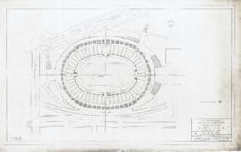 Master plan of the sports center, Maisonneuve park : Stadium, plan at 115.0 level - 1957
