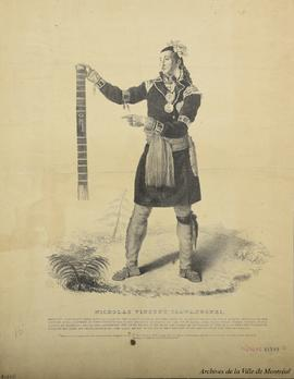 Nicholas Vincent Tsawanhonhi : principal christian chief and captain of the Huron Indians established at La Jeune Lorette, near Quebec, habited in the costume of his country, as when presented to his majesty George IV, on the 7th of april 1825, with three other chiefs of his nation by generals Brock and Carpenter. The chief bears in his hand the Wampum or collar on which is marked the tomahawk given by his late Majesty George III. The gold medal on his neck was the gift on this presentation / From a painting by E. Chatfield ; Printed C. Hullmandel . - 1825